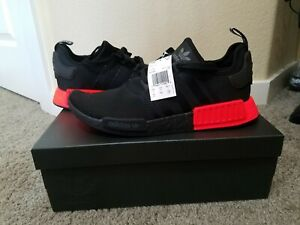 New Adidas Men S Nmd R1 Shoes Core Black Solar Red Size 12 Ebay