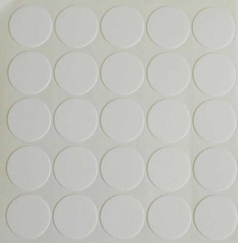 25 X 18MM SELF ADHESIVE SCREW HOLE CAM COVER CAP WHITE FURNITURE KITCHEN BEDROOM