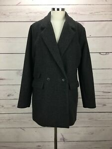 Abercrombie-Fitch-Women-s-Size-L-Wool-Blazer-Coat-Gray-Jacket-NWT