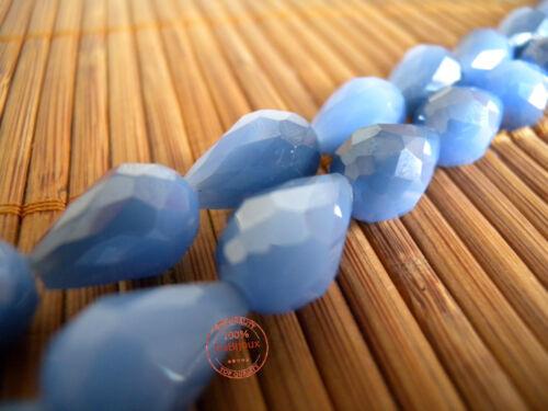 Mezzi Cristalli Bigiotteria Mezzo Cristallo Gocce Sfaccettate Azzurro Celeste