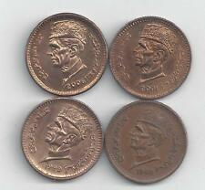 4 DIFFERENT 1 RUPEE COINS from PAKISTAN (1998, 1999, 2001 & 2006)