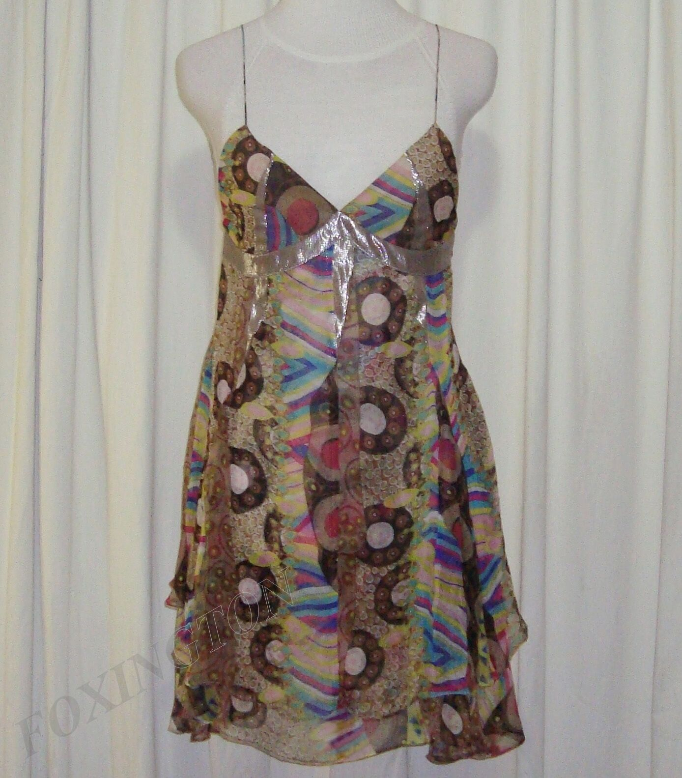 SASS&BIDE PATTERNED SILK LAYErouge Robe 40 4 (AUS 8 10) CROSSING THE LINE