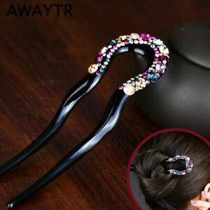 Classic Women/'s U-shaped Crystal Hairpin Hair Sticks Hair Clips Pins Hair Accs.