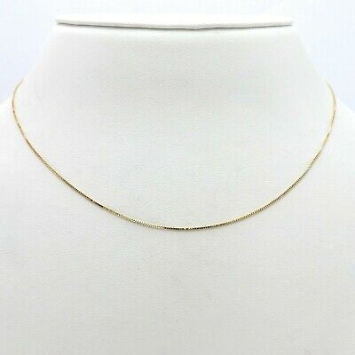 """14k Solid White Gold Box Link Necklace Pendant Chain 18/"""" .7mm"""
