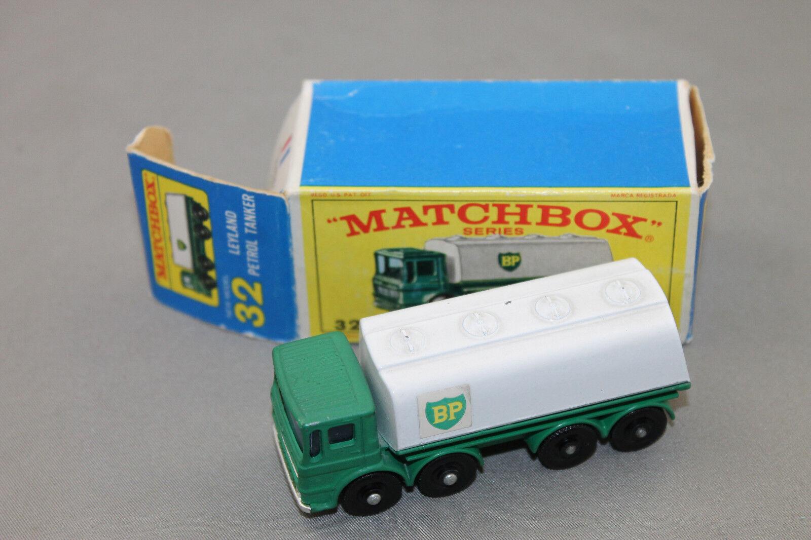 Entrega directa y rápida de fábrica Matchbox 32 leyland petrolero camión cisterna bp verde blancoo blancoo blancoo en OVP  en stock