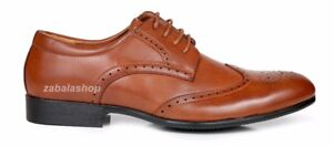 Men-Fashion-Wing-Tip-Lace-Up-Oxford-Classic-Modern-Dress-Shoes-Brown