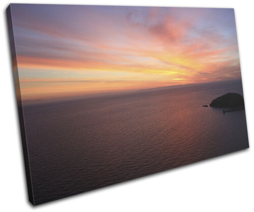 Sunset  Ocean Sea Landscapes SINGLE CANVAS WALL ART Picture Print