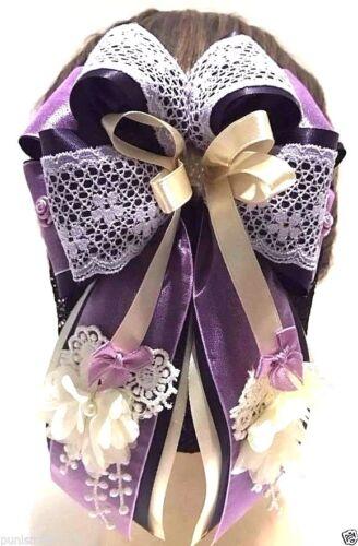 Handmade Flower Lacework Purple Bow Ribbon Hair Clip Snood Net Bun Cover Ballet