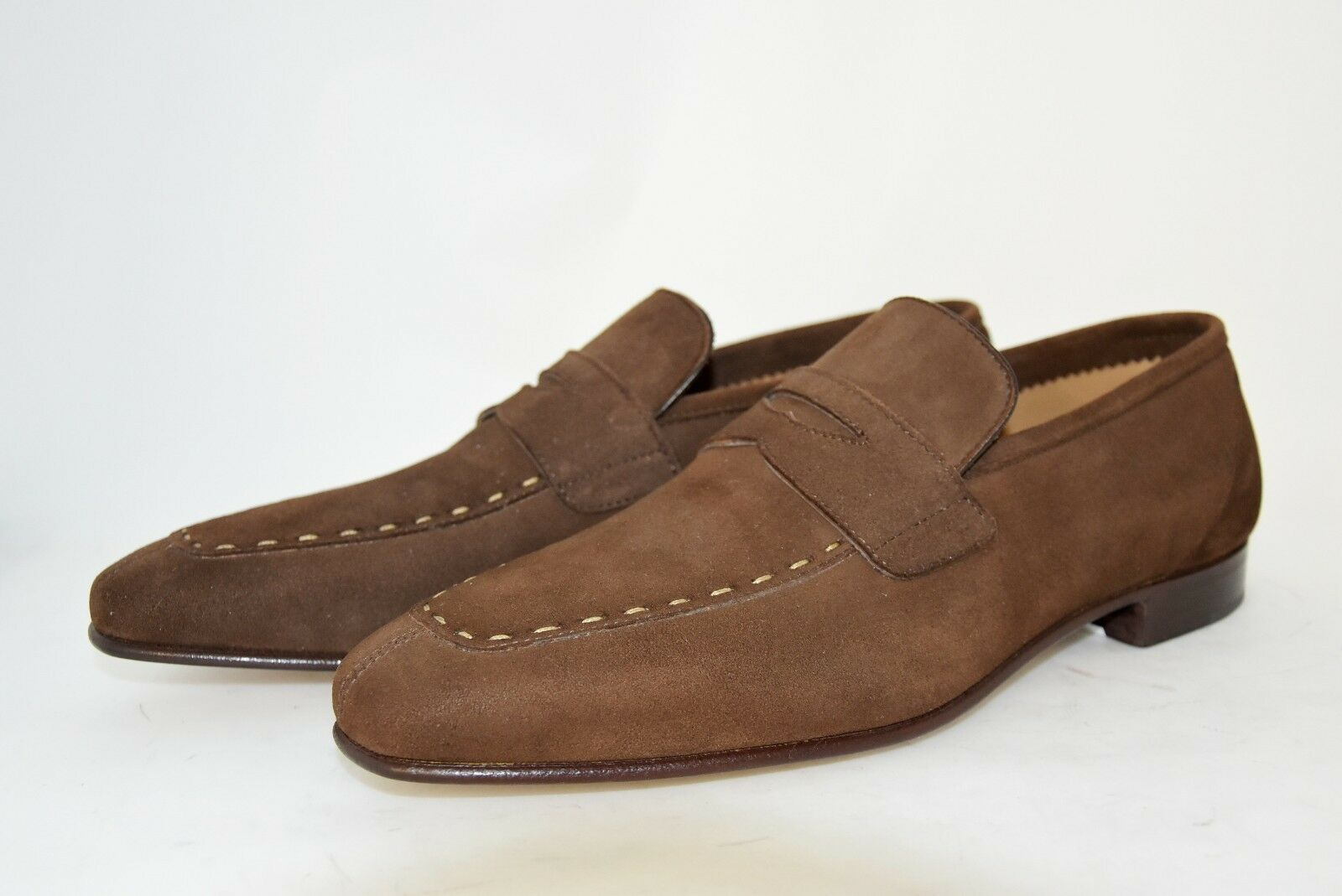 MAN-8½eu-9½usa-PENNY LOAFER-MOCASSINO-BROWN SUEDE-CAMOSCIO MARRONE-LEATHER MARRONE-LEATHER MARRONE-LEATHER SOLE aab2c5