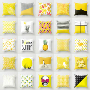 Image Is Loading Polyester Yellow Pillow Case Cover Sofa Car Waist