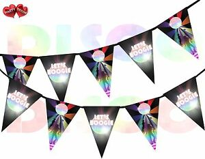 Disco-Ball-Lets-Boogie-Sign-I-Love-70-039-s-80-039-s-90-039-s-Theme-Bunting-Banner-15-flags