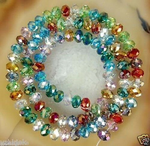 100pcs colored Crystal Gemstone Loose Beads 6x4mm