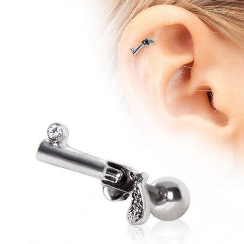 New Novelty Surgical Steel Gun Tragus Cartilage Ear Stud Bar 16g