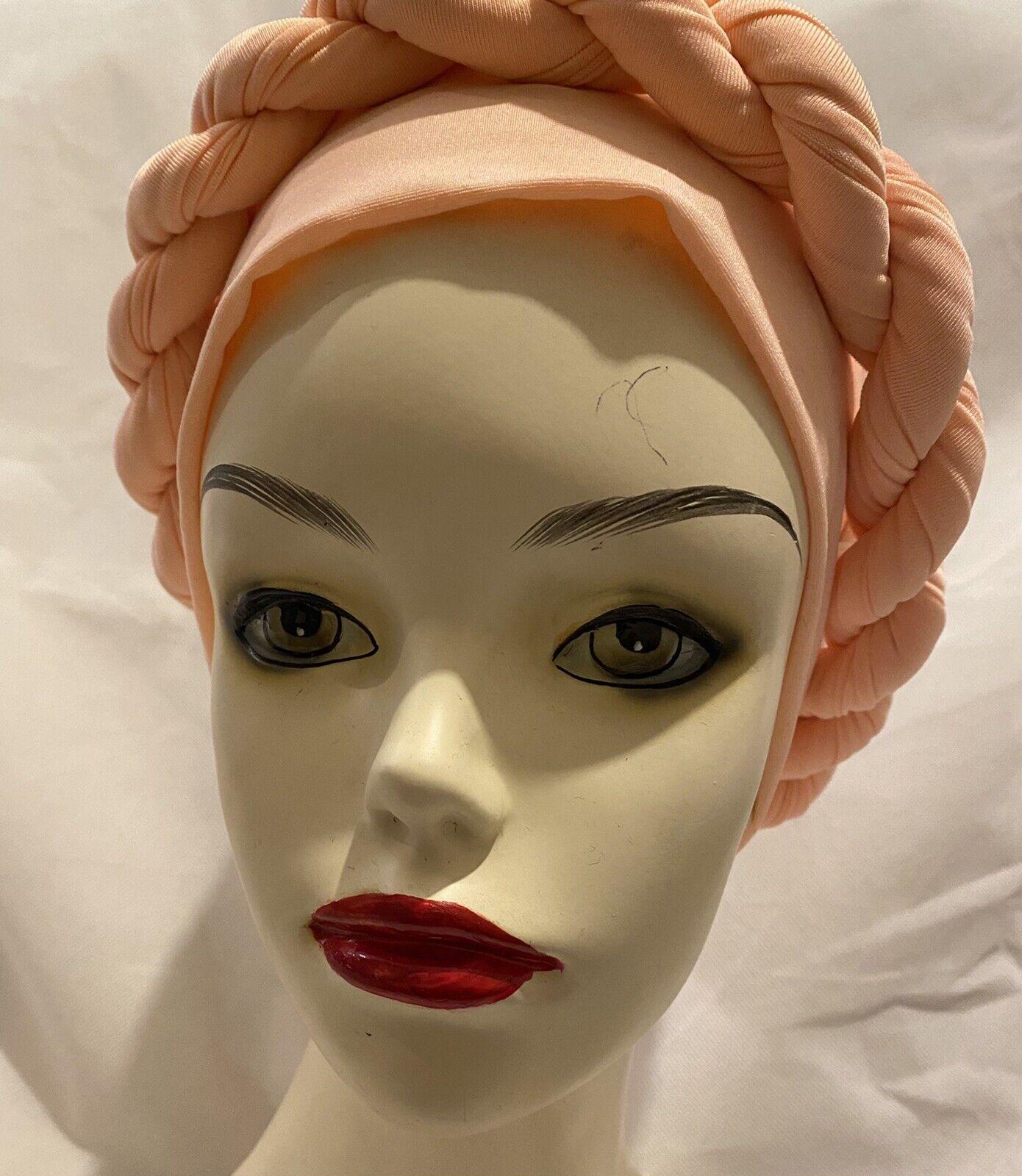 African Women Elegant Turban cap auto gele Peach With Sequence turban