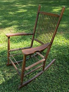 Image is loading antique-childs-wooden-rocking-chair-shaker-style-windsor- & antique childs wooden rocking chair shaker style windsor primitive ...