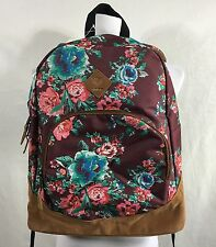 NWT Roxy Fairness Backpack Floral Suede Girls School Book Bag Back to School