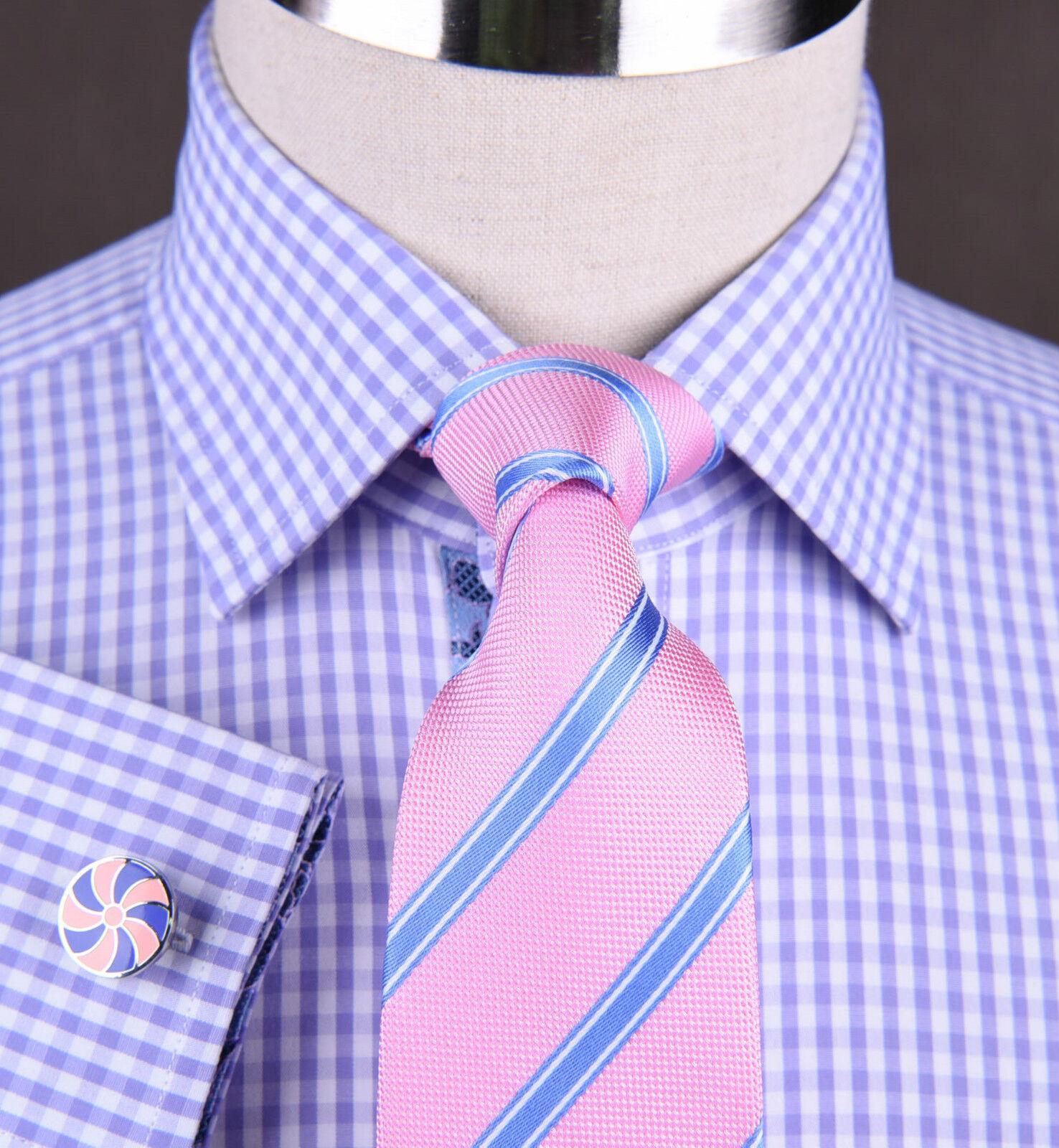 Lavender Gingham Checkerot Business Shirt Soft lila Boss Egyptian Cotton Style
