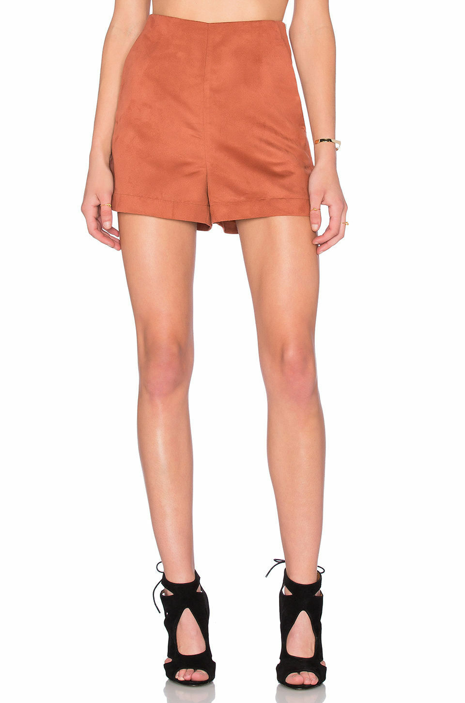 Sanctuary Clothing Copper Marni Faux Suede Side Zip Short Size 26 NWT
