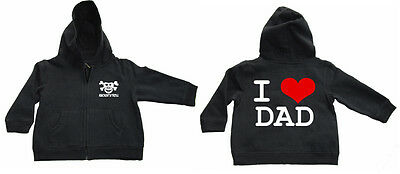 I LOVE DAD  Zipped Hoodie KAPU-Zip Baby Black
