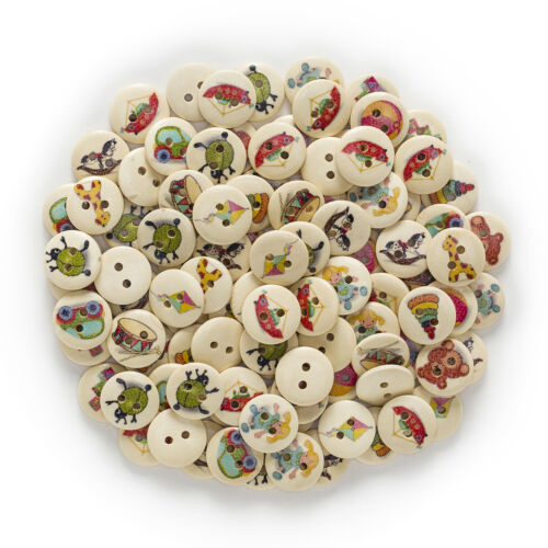 50pcs 2 Hole Toy Round Wood Buttons Decor Sewing Scrapbooking Home 15mm