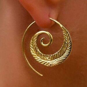 BOHO-ETHNIC-TRIBAL-SWIRL-SPIRAL-HOOP-EARRINGS-GOLD-PLATED-1-PAIR-UK-SELLER