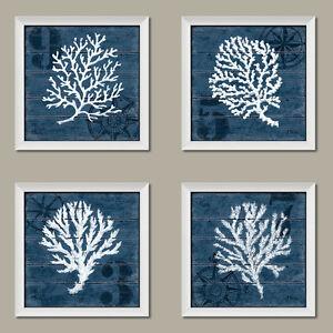 New Set Of 4 White Framed Vintage Art Prints 12x12 Blue Coral Sea