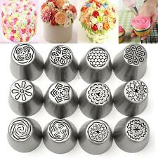 12Pcs Russian Tulip Flower Cake Icing Piping Nozzles Decorating Tips Baking Tool