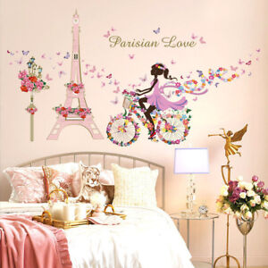 Paris Eiffel Wall Stickers Romantic Flower Decals Girls Bedroom Decorations Ebay