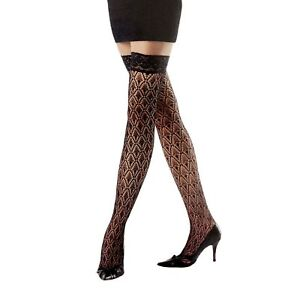 FASHION BLACK Polka Dot Sheer Lace Top Hold-ups Stockings One size