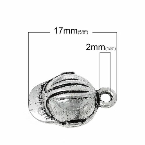 10 Baseball Cap 17mm Antiqued Silver Plated Pendant Charms C0438-5 20PCs
