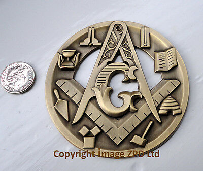 ZP356 Masonic Masons LARGE badge with G Geometry Freemason Square Compass Tools
