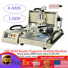 Usb 4 Axis Cnc 6040z Router Engraver Engraving Machine Woodwork 15kw 3d Cutter