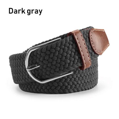 Buckle Braided Stretch Belt Canvas Belts Elasticated Fabric Waistband PU Leather