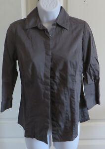 Womans-Van-Heusen-Studio-Stretch-Button-Down-3-4-Sleeve-Shirt-Gray-XS