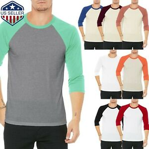 Mens-Baseball-RAGLAN-T-Shirts-3-4-Sleeve-Tee-Team-Sport-Jersey-Solid-Casual