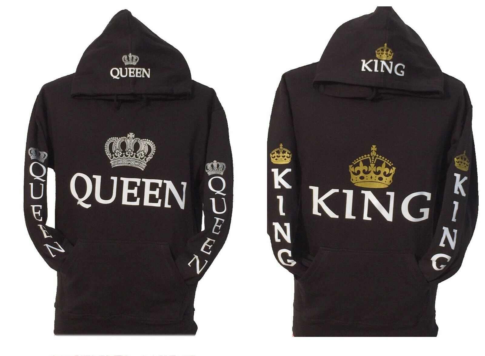 King and queen hoodies hooded sweatshirt adults+kids