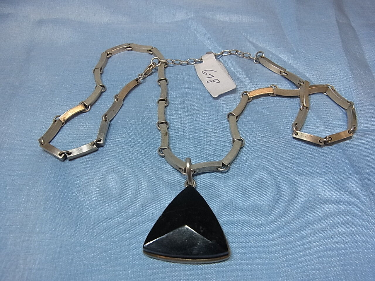 925er silver Halskette mit Onyxstein anhänger kette lang 45 cm Anhänger 2,5x2,5