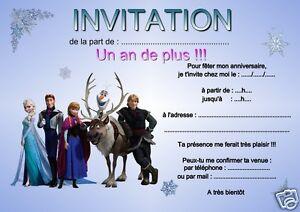 5 Ou 12 Cartes Invitation Anniversaire Reine Des Neiges Ref 09