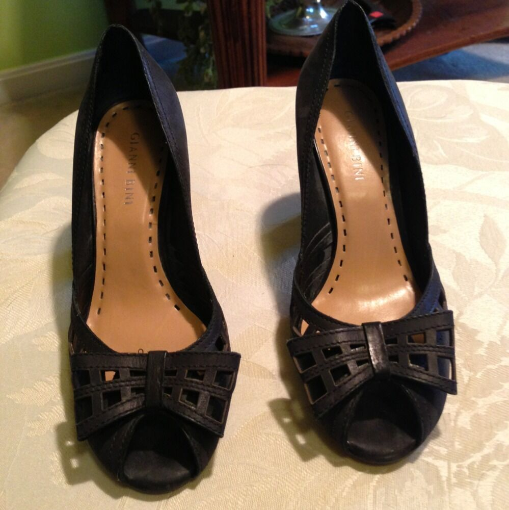 Gianni Bini 7.5 Very Cute Open Toe Heels Sz 7.5 Bini M Leather Upper b886b2