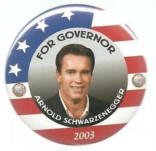 ARNOLD SCHWARZENEGGER FOR GOVERNOR 2003 CALIFORNIA POLITICAL PIN