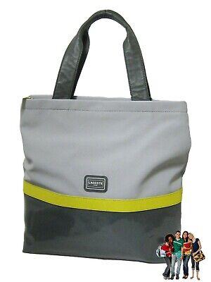 New Vintage LACOSTE Womens Ladies TOTE Bag Fashion 10 Corduroy Petrol Blue