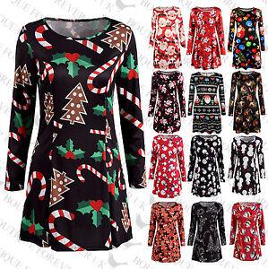 UK-Womens-Christmas-Snowman-Dress-Ladies-Xmas-Santa-Mini-Smock-Dress-Size-6-22
