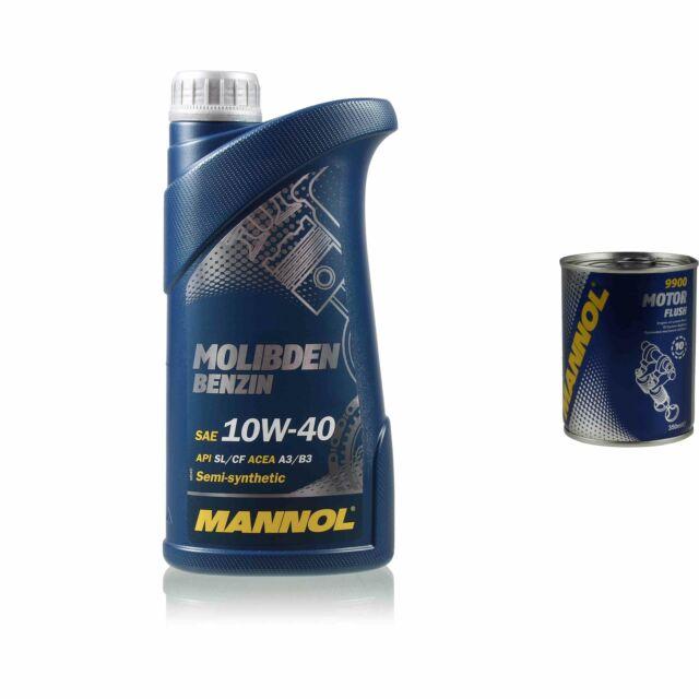 1L Aceite de Motor Mannol Molibden Gasolina 10W-40 1x Flusch Aditivo