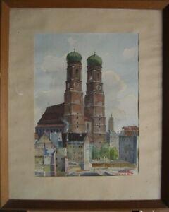 Frauenkirche-Monaco-Acquerello-Antico-Baviera-Mercato-Centro-Storico-T-Armato