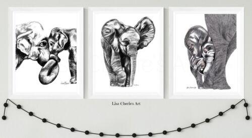 nursery prints motherhood,newborn gift,animal art mother baby Elephant Prints