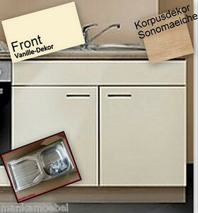 sp lenunterschrank mankasigma vanille sonoma 100cm mit arbeitsplatte mit sp le ebay. Black Bedroom Furniture Sets. Home Design Ideas