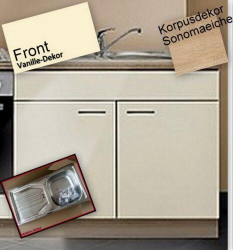 Rincer sous armoire mankasigma vanille/sonoma 100cm avec plan de travail/avec évier