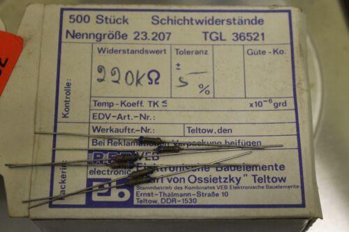 500 embalaje original RDA RFT resistencias 23.207 tgl 36521 220k 220 kOhm ± 5/% tk200 0,3w #as-n08