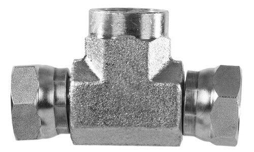 """1602-04-04-04 Hydraulic Fitting 1//4/"""" Female Pipe X 1//4/"""" Female Pipe Swivel  Tee"""