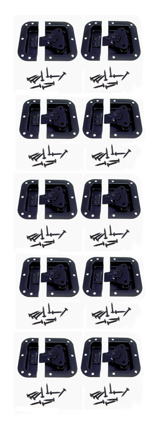 10 Pack schwarz Finish Medium Recessed Butterfly Latch Pedal Cases A3020BK